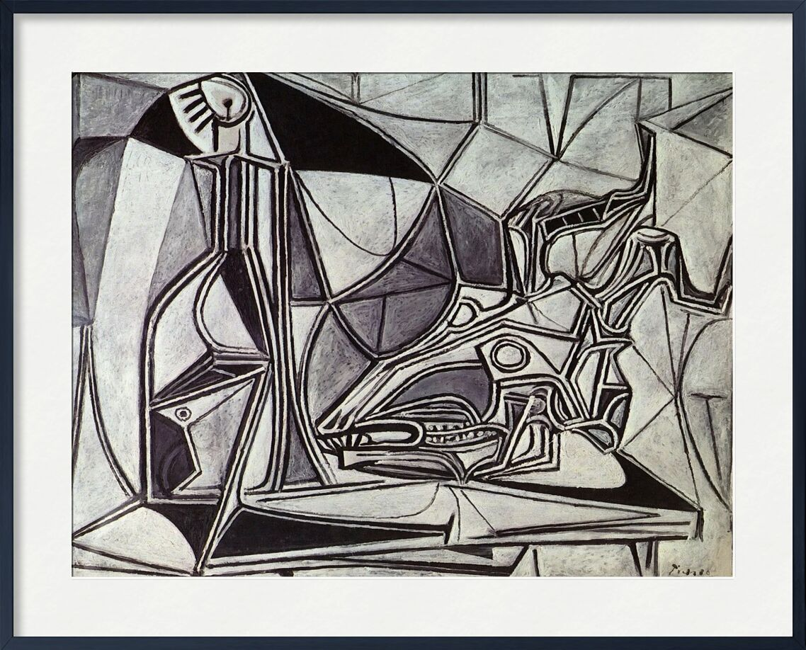 Goat's Skull, Bottle and Candle - Picasso from AUX BEAUX-ARTS, Prodi Art, candle, goat, abstract, painting, picasso
