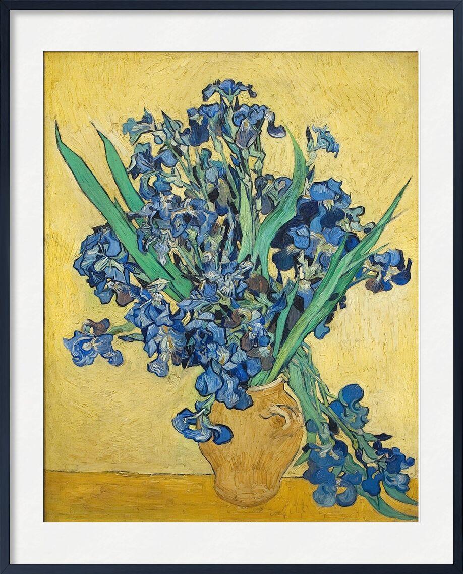 Vase of Irises Against a Yellow Background - Van Gogh desde AUX BEAUX-ARTS, Prodi Art, Van gogh, pintura, iris, florero, azul, amarillo