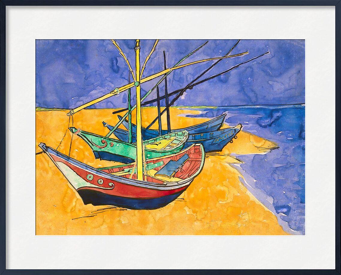 Boats on the Beach of Les-Saintes-Maries - Van Gogh from AUX BEAUX-ARTS, Prodi Art, Van gogh, painting, boat, beach, summer, sea, wave