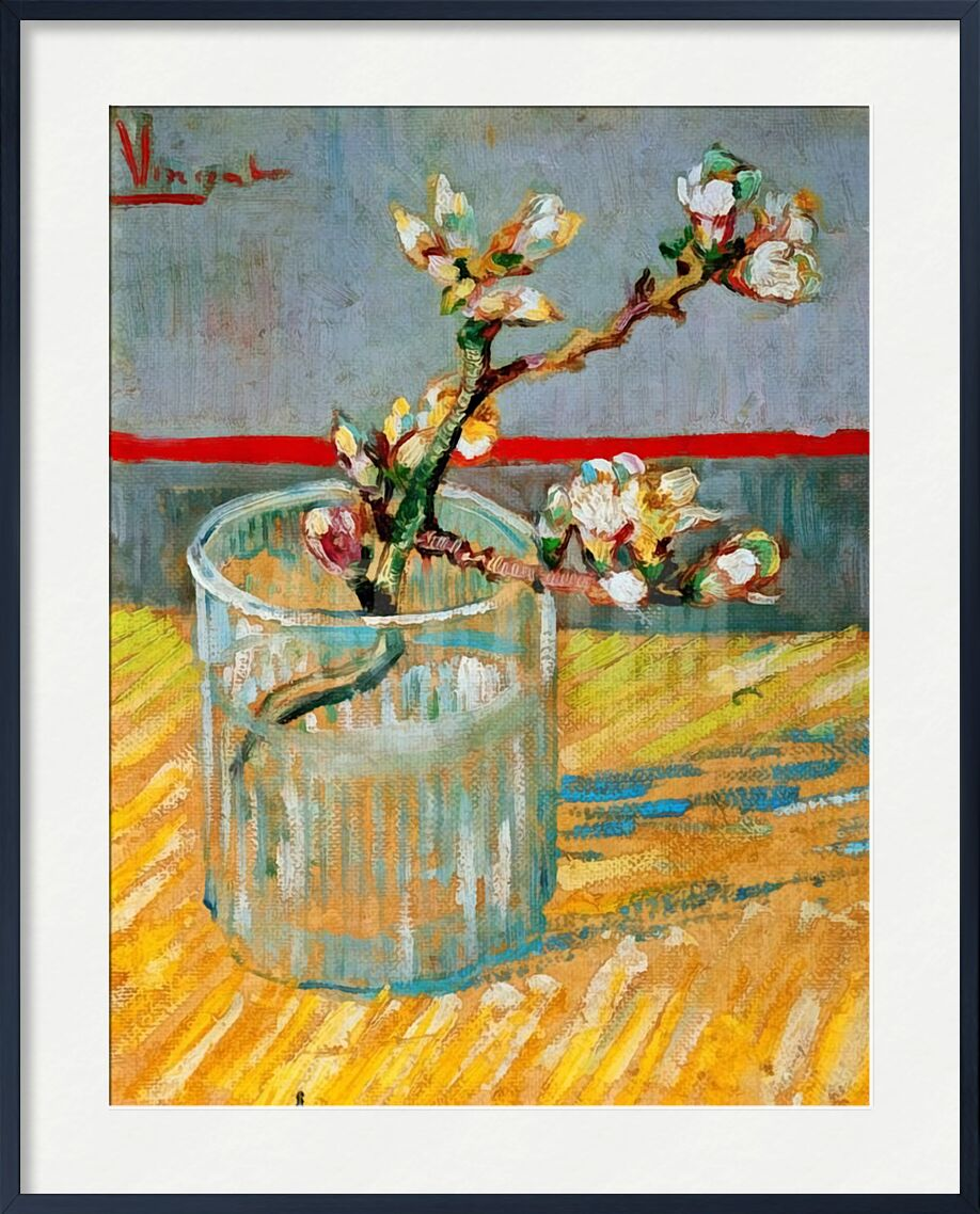 Blossoming Almond Branch in a Glass - Van Gogh from AUX BEAUX-ARTS, Prodi Art, almond, almond, branch, painting, Van gogh
