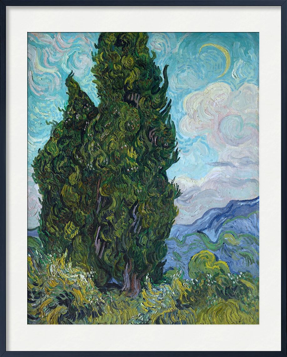 Cypresses - Van Gogh from AUX BEAUX-ARTS, Prodi Art, Sun, sky, landscape, nature, cypress, Van gogh