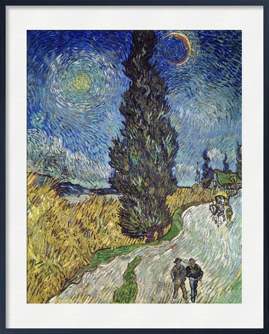 Country Road with Cypress and Star - Van Gogh desde AUX BEAUX-ARTS, Prodi Art, cielo, sol, estrella, Pareja, camino, pintura, Van gogh