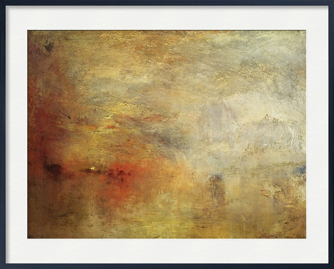 Sundown over a Lake - TURNER from AUX BEAUX-ARTS, Prodi Art, TURNER, painting, sunset, Sun, sky