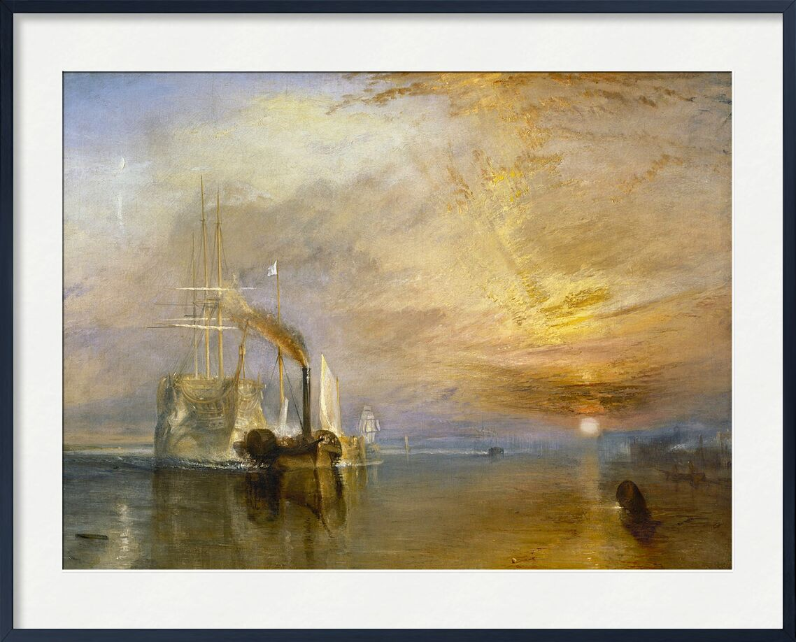 """The """"Fighting Temeraire"""" Tugged to Her Last Berth to be Broken Up - TURNER desde AUX BEAUX-ARTS, Prodi Art, TORNERO, pintura, barco de vela, barco, mar, cielo, sol"""
