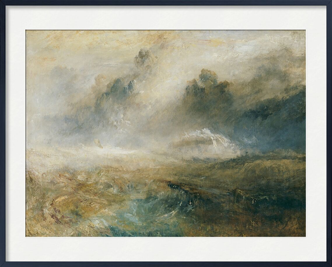 Rough Sea with Wreckage - TURNER from AUX BEAUX-ARTS, Prodi Art, TURNER, painting, sea, storm, wrecks