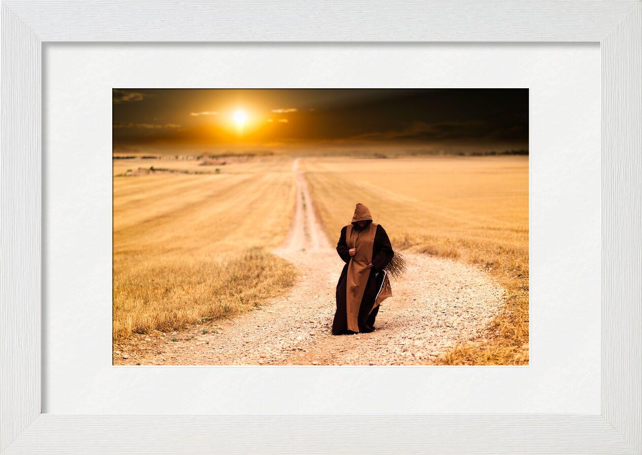 La marche du moine de Pierre Gaultier, Prodi Art, les moines, chemin, couché de soleil, paysage, après midi