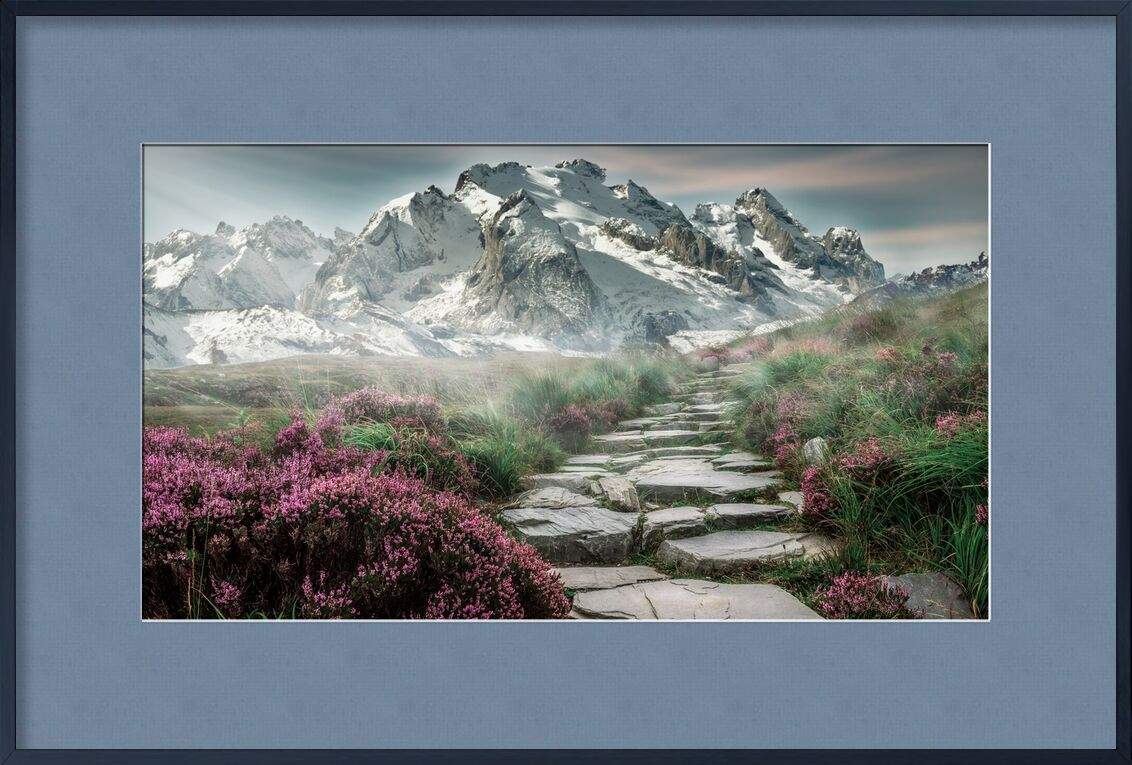 Mountain path from Pierre Gaultier, Prodi Art, mountain landscape, mountains, landscape, steinweg, nature, mountain hiking, hiking, mountain peaks, alpine, distant view, fog, meadow, sky, mood, staircase, pink, snow, holiday, romantic, recovery, mountaineering, composing, photoshop, image manipulation, hike, mountain tour, away, mountain walker, more, stone staisr