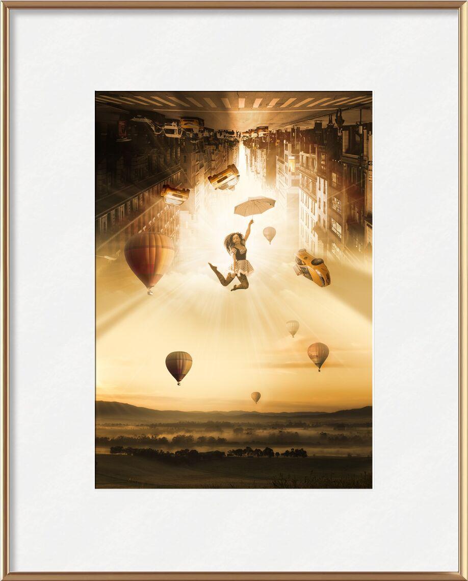 New-York dans les airs de Pierre Gaultier, Prodi Art, montgolfières, au dessous de, peau, circulation, grattes ciels, ville, flotte, parapluie, éblouir, paysage, Jeune, atmosphère, lumière, personnel, moderne, art, fantaisie, Taxi, tomber, femme, New York