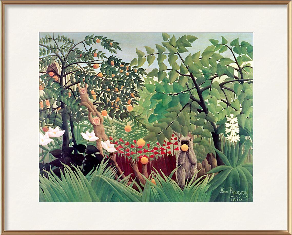 Paysage exotique avec des singes jouant de AUX BEAUX-ARTS, Prodi Art, singes, forêts, enfants, arbre, sauvage, peinture, Rousseau