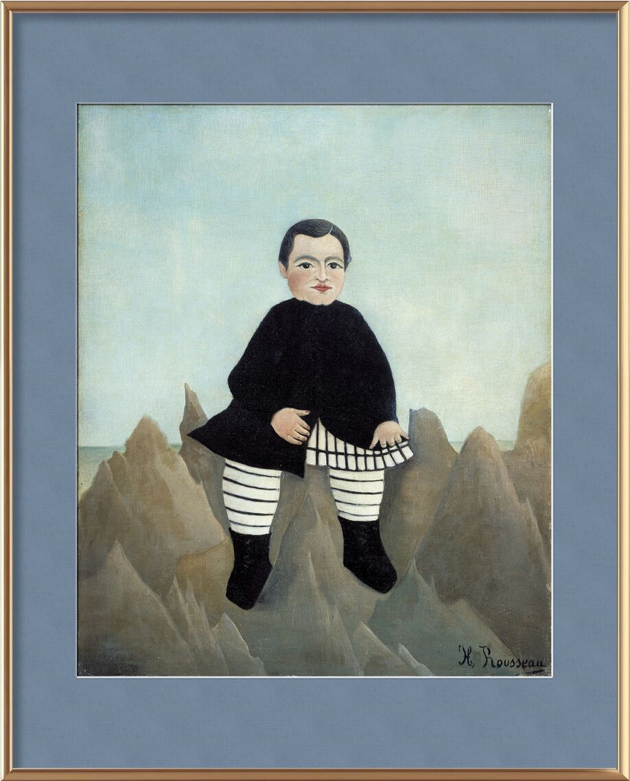 Boy on the Rocks from AUX BEAUX-ARTS, Prodi Art, child, boy, rousseau, rock, painting, portrait