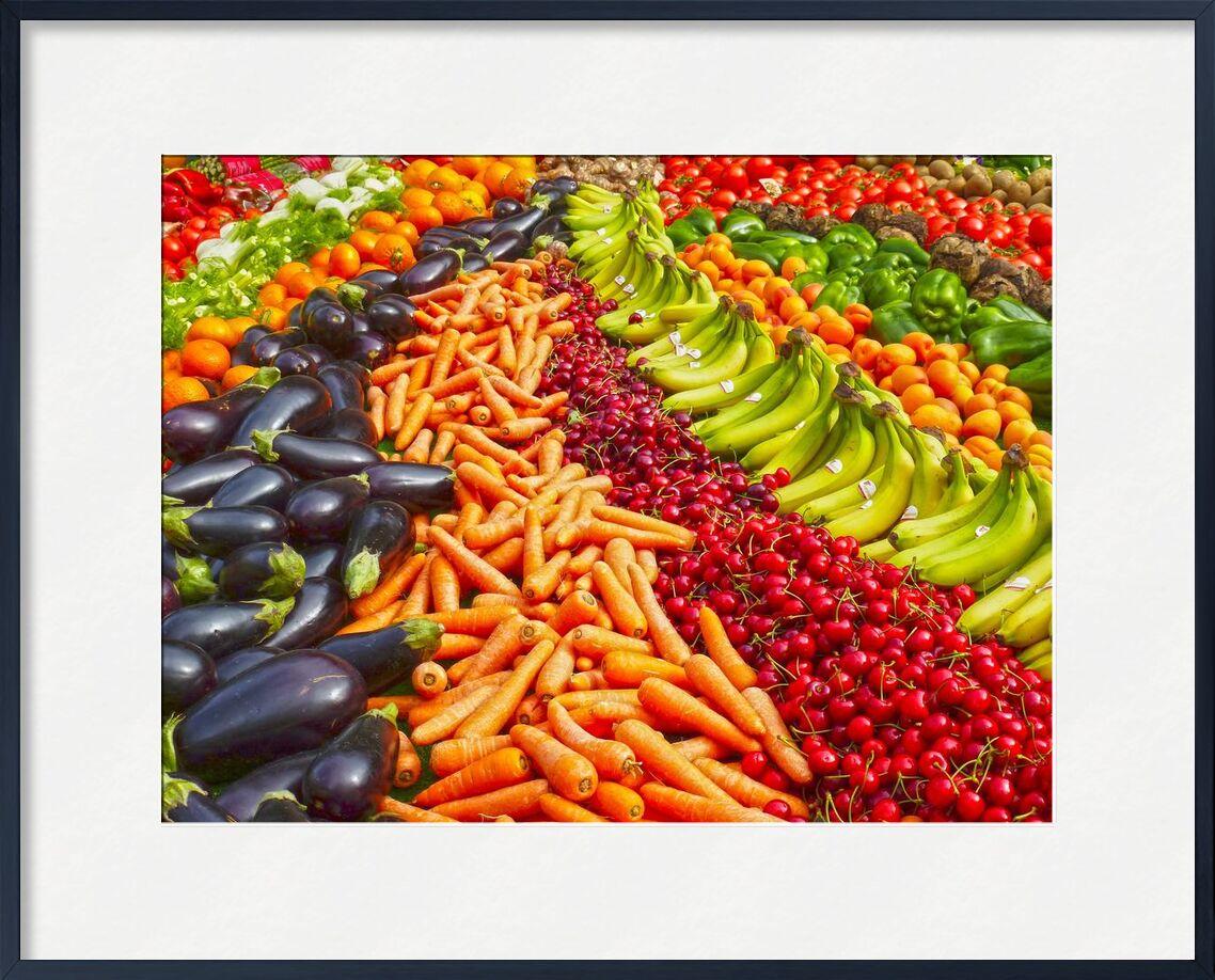 Au marché des légumes de Pierre Gaultier, Prodi Art, végétarien, des légumes, supermarché, la vie, encore, stalle, pimenter, boutique, vente, rouge, poivre, biologique, nutrition, marché, Ingrédients, en bonne santé, récolte, croître, fruits, Frais, nourriture, délicieux, cultures, cerises, carottes, lot, bananes, agriculture, abondance