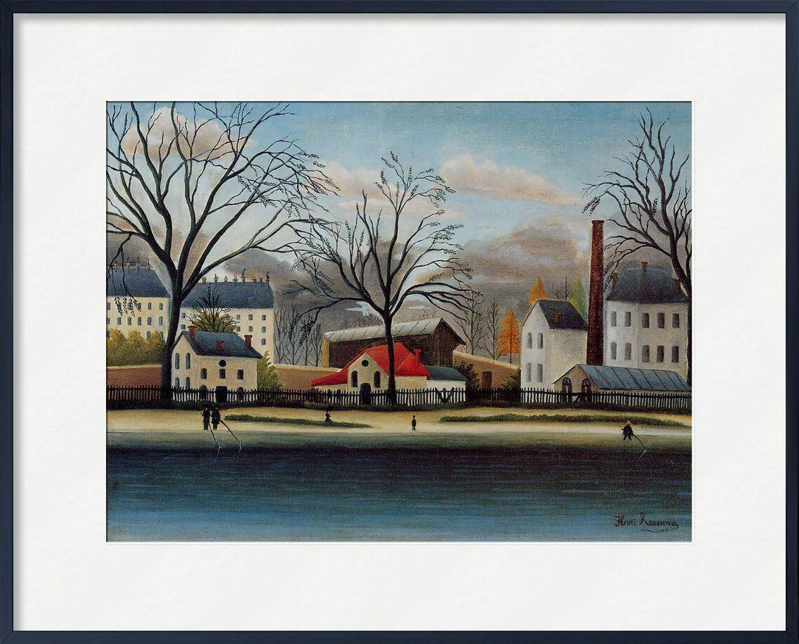 Banlieue de AUX BEAUX-ARTS, Prodi Art, Rousseau, peinture, maisons, arbre, automne, ciel, nuages, banlieue