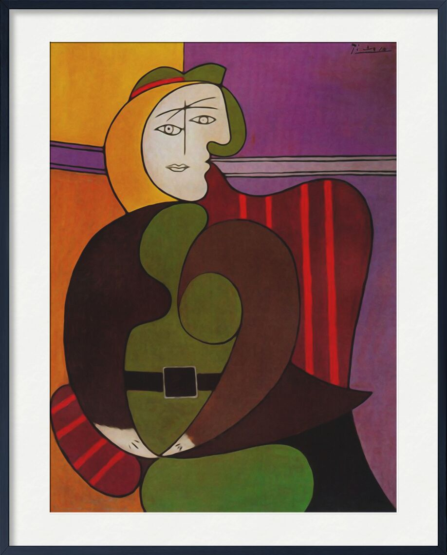 Seated Woman in a Red Armchair from AUX BEAUX-ARTS, Prodi Art, picasso, painting, armchair, abstract, cubism, portrait