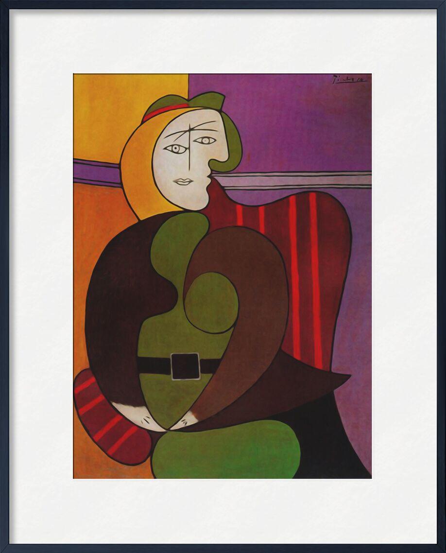 Femme assise dans un fauteuil rouge de AUX BEAUX-ARTS, Prodi Art, picasso, peinture, fauteuil, abstrait, cubisme, portrait