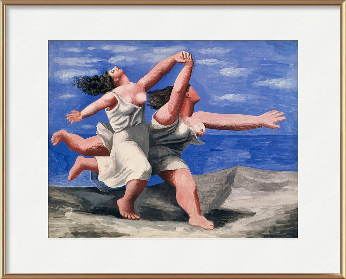 Two women running on the beach from AUX BEAUX-ARTS, Prodi Art, running, course, women, picasso, painting, beach, clouds, sky