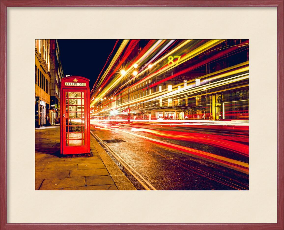 In a London street by night from Pierre Gaultier, Prodi Art, cars, city, communication, england, great, britain, lights, london, long-exposure, motion, phone, booth, speed, street, telephone, booth, time-exposure, traffic