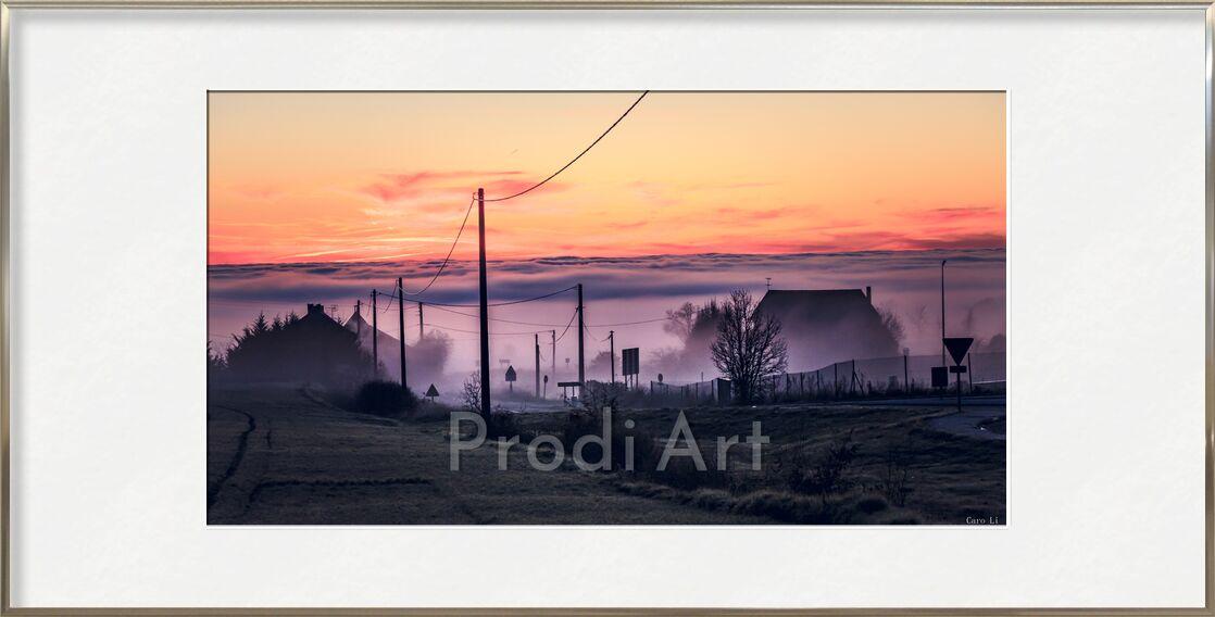 Ghost City de Caro Li, Prodi Art, ville, couché de soleil, ville, brouillard, coucher de soleil