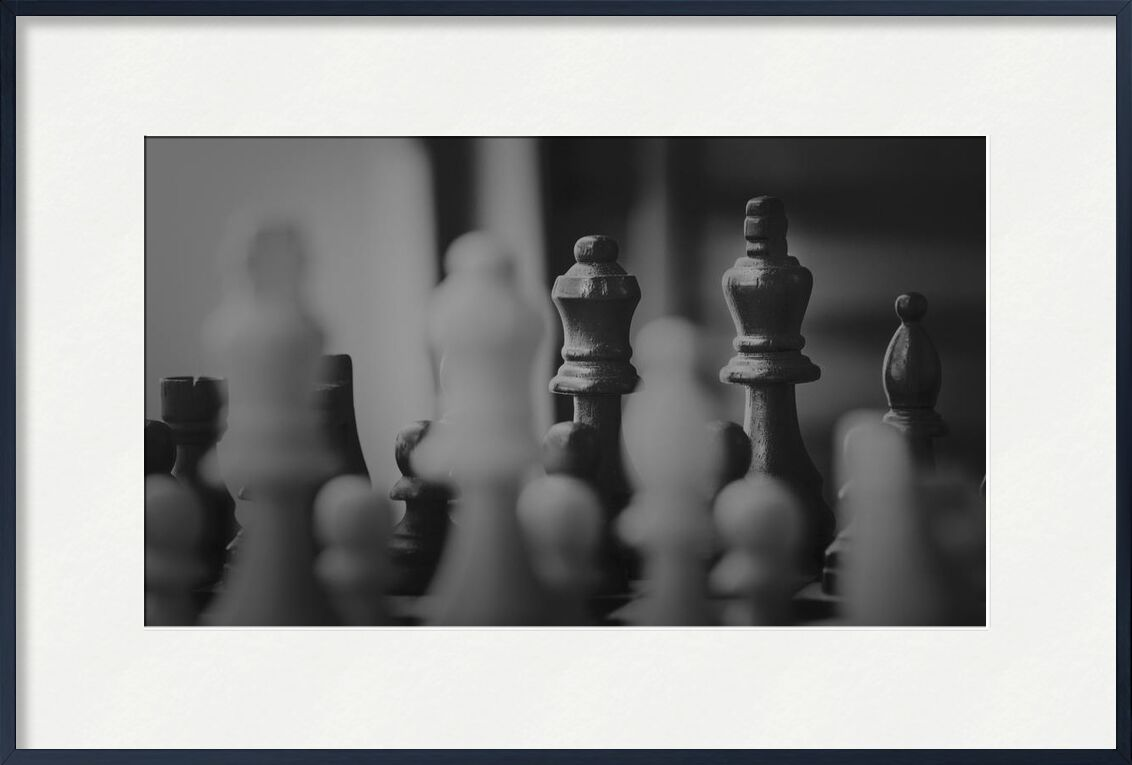 La partie from Aliss ART, Prodi Art, black and white, black-and-white, strategy, board game, chess, chess pieces, chessboard, game, king, knight, mind game, pawn, queen
