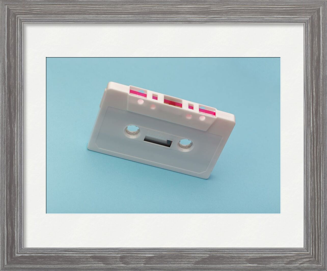 Cassette from Aliss ART, Prodi Art, audio, classic, device, equipment, music, pink, record, retro, sound, technology, vintage, white, blank, blue background, cassette, cassette tape, plastic, recording, style  tape