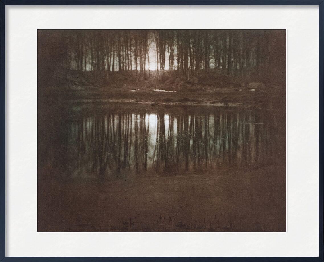 The Pond—Moonlight -Edward Steichen 1904 from AUX BEAUX-ARTS, Prodi Art, pond, light, Sun, sunset, edward steichen, black-and-white, against day
