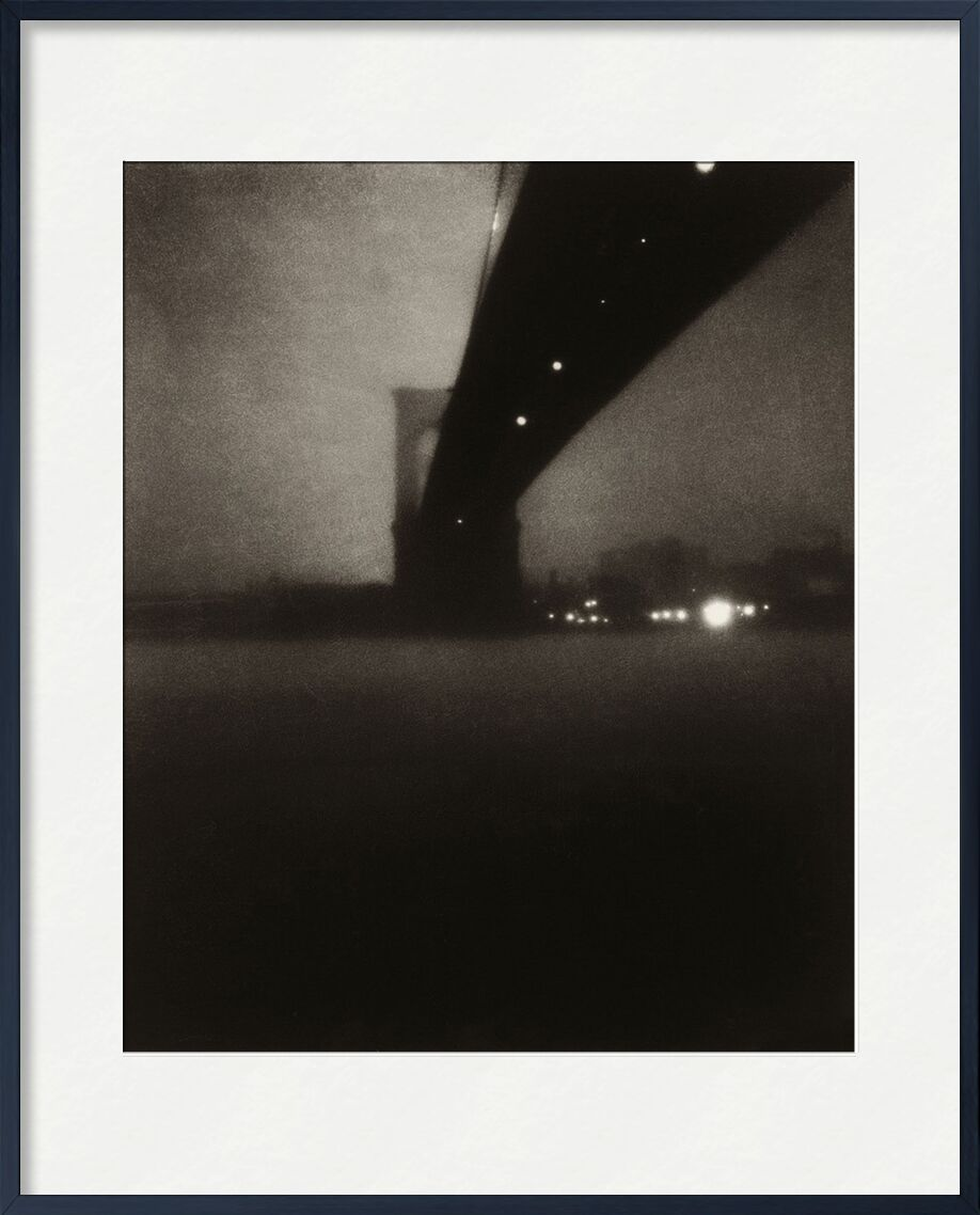 Brooklyn bridge - Edward Steichen 1903 from Aux Beaux-Arts, Prodi Art, edward steichen, city, River, black-and-white, Brooklyn,