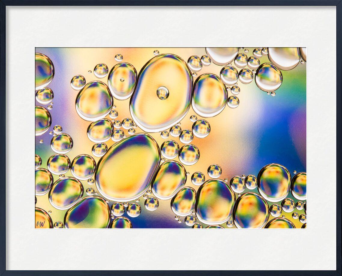 Bulles d'huile #4 de Mickaël Weber, Prodi Art, jaune, bleu, Couleur, gouttelettes, goutelettes, Bulles, gouttes, moderne, moderne, eau, eau, shapes, formes, amusement, oily, oil, huile, vert, macro, abstrait, bebbles