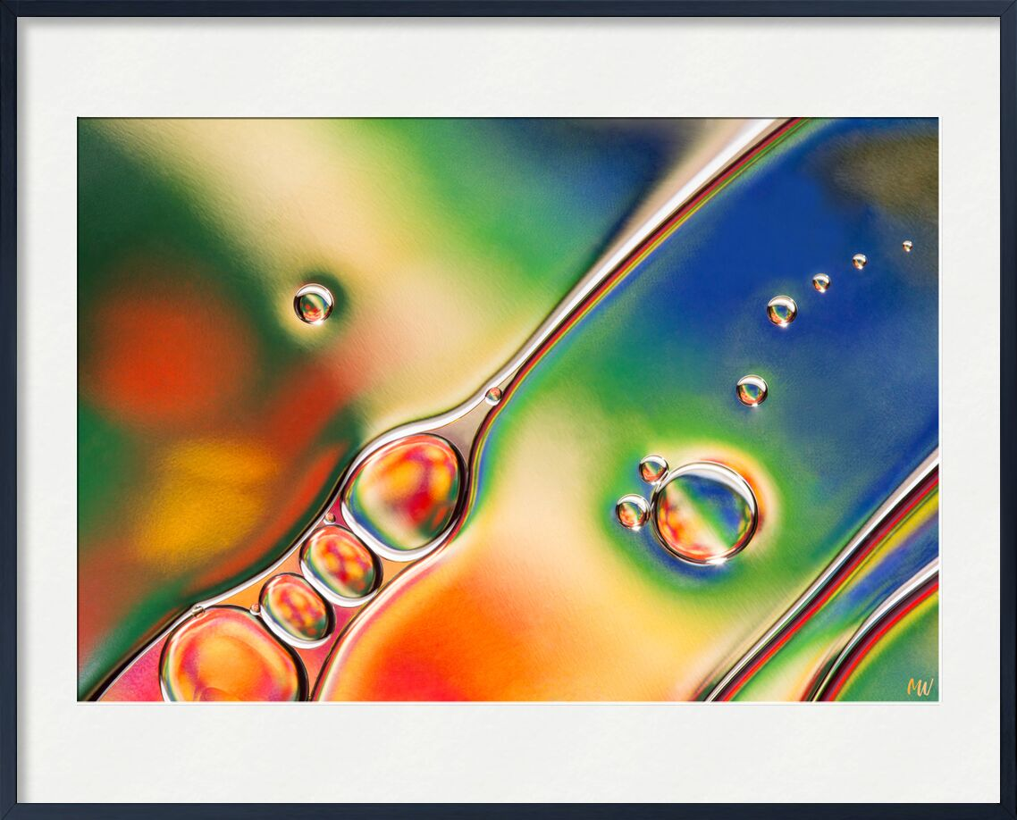 Oily bubbles #1 from Mickaël Weber, Prodi Art, modern, modern, water, water, shapes, formes, fun, oily, oil, huile, bubbles, Bulles, abstract, orange, green, blue, macro, color, droplets, drops