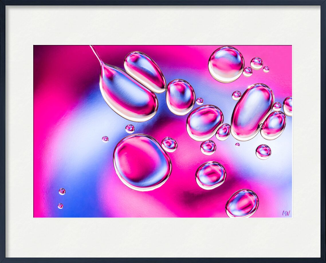 Bulles d'huile #2 de Mickaël Weber, Prodi Art, goutelettes, gouttelettes, gouttes, bubbles, Bulles, Couleur, bleu, rose, abstrait, macro, huile, oil, oily, amusement, formes, shapes, eau, moderne, abstracr