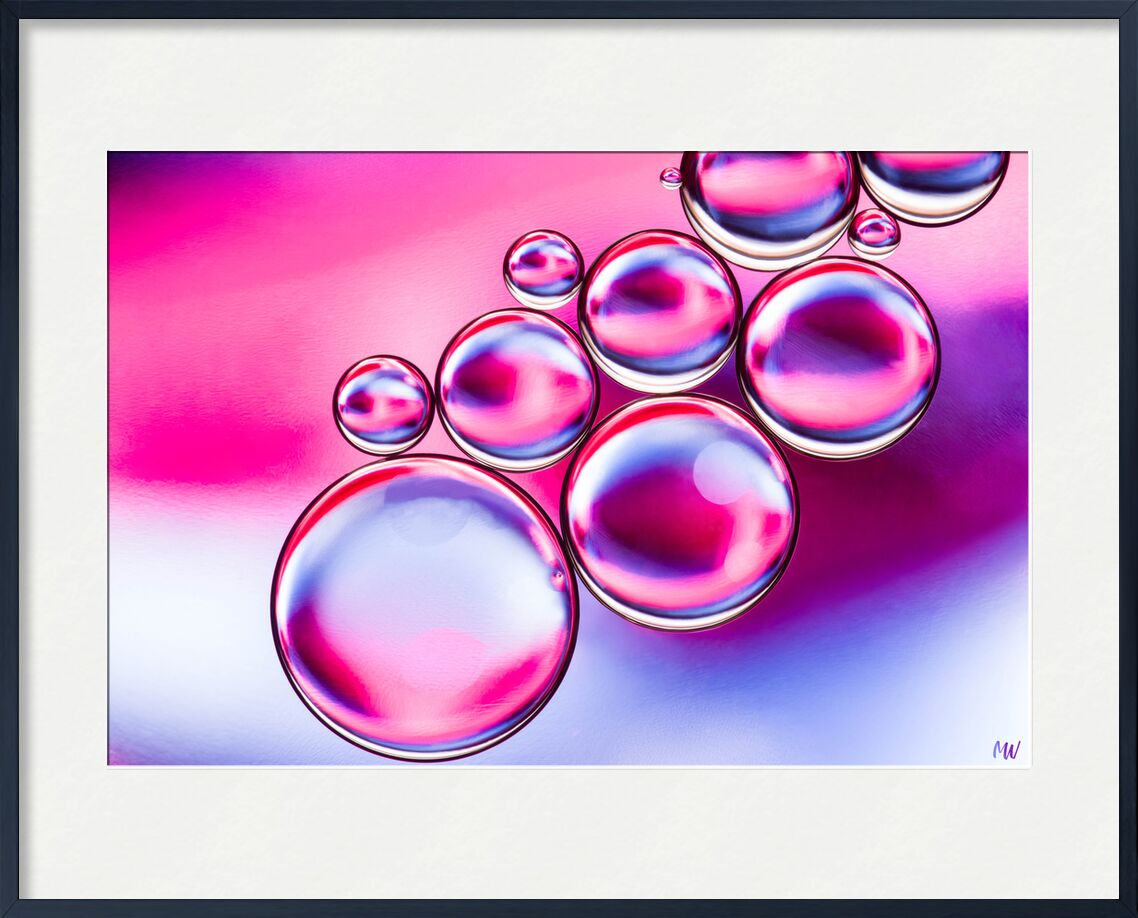Oily bubbles #5 from Mickaël Weber, Prodi Art, droplets, goutelettes, drops, bubbles, Bulles, modern, modern, water, water, shapes, formes, fun, oily, oil, huile, color, macro, abstract, pink, purple