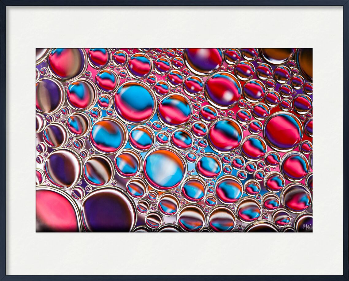 Oily bubbles #12 from Mickaël Weber, Prodi Art, oil, huile, red, blue, purple, pink, abstract, macro, color, droplets, goutelettes, drops, bubbles, Bulles, modern, modern, water, water, fun, oily, formes, shapes