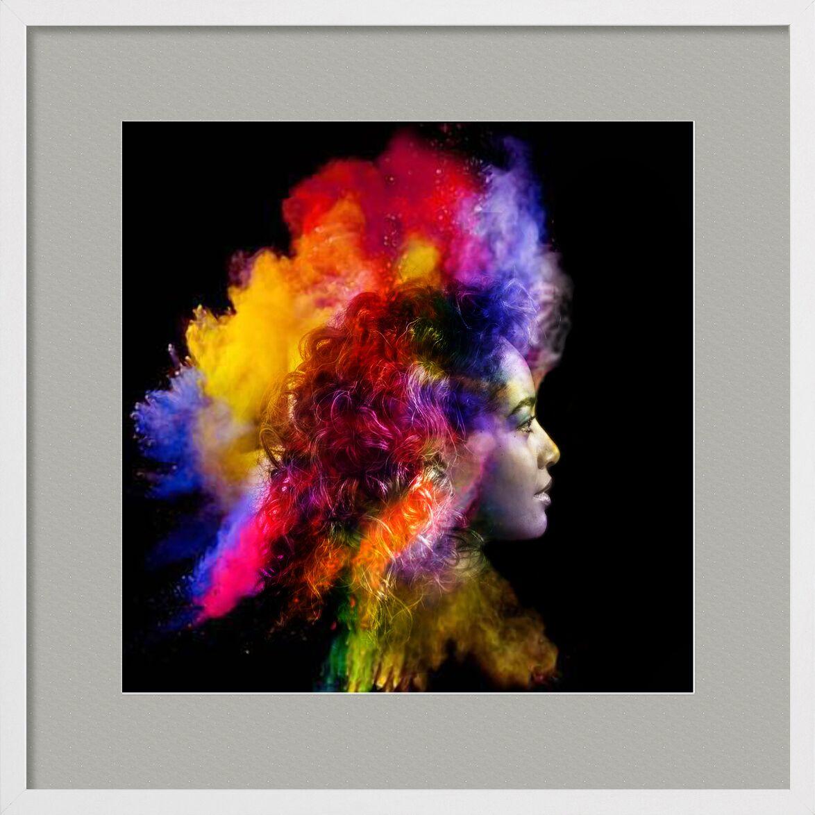 Dans un éclair de fumée de Adam da Silva, Prodi Art, rouge, noir, visage, femme, éclair, fumée
