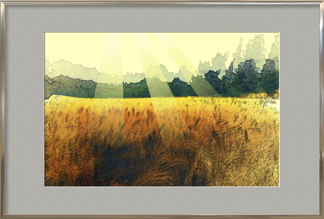 The wheat and its sun from Adam da Silva, Prodi Art, wheat, Sun, painting, trees, harvest