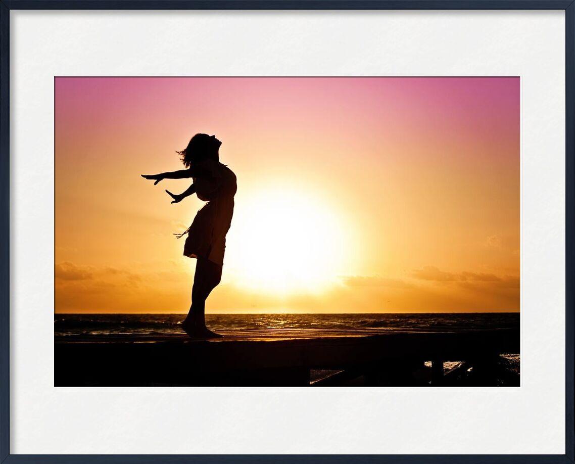 Happiness from Pierre Gaultier, Prodi Art, woman, water, sunset, sunrise, Sun, sky, silhouette, seashore, sea, person, ocean, light, joy, evening, dusk, dress, dawn, beautiful, beach