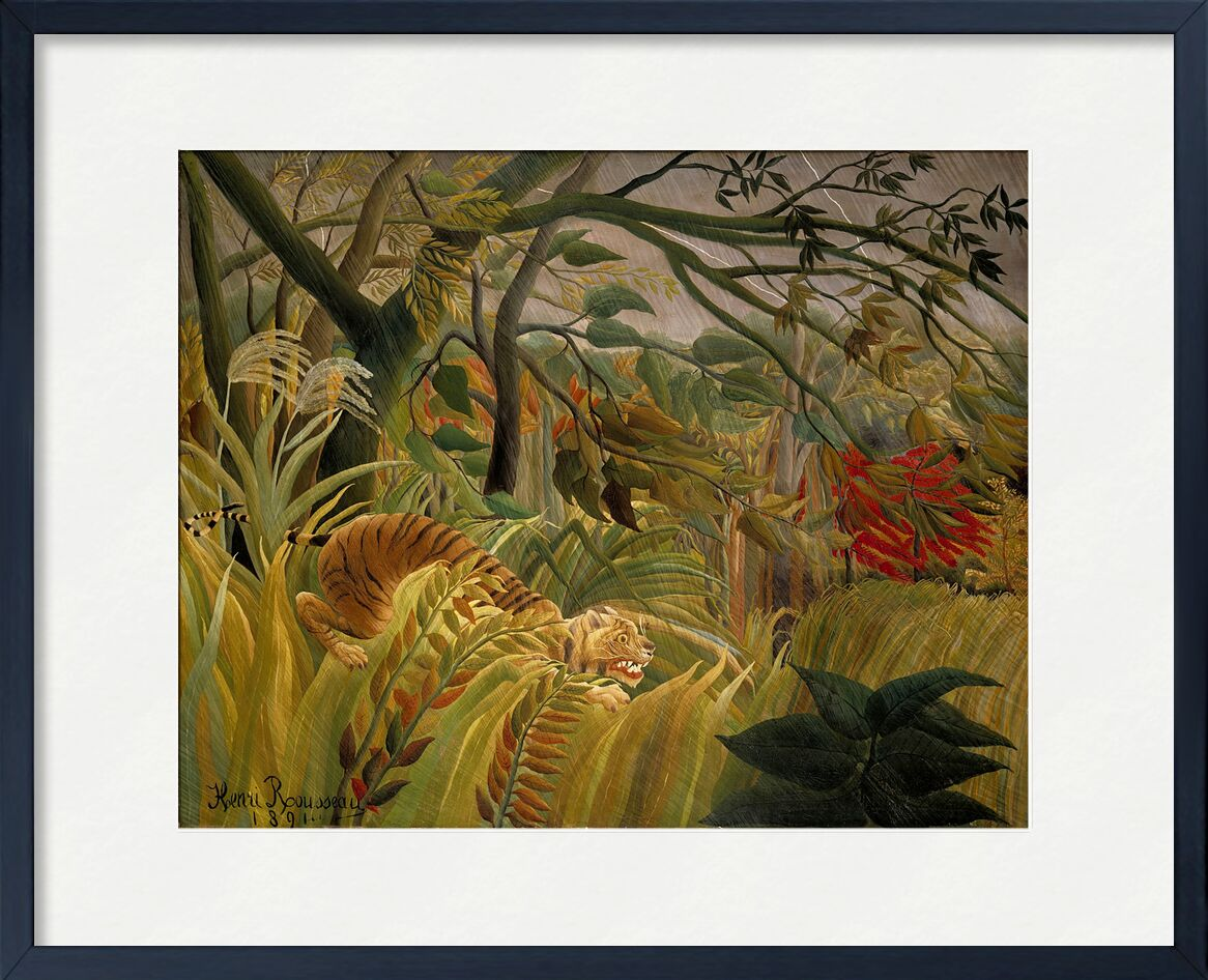 Tiger in a Tropical Storm from AUX BEAUX-ARTS, Prodi Art, rousseau, tropic, jungle, trees, tiger, flowers