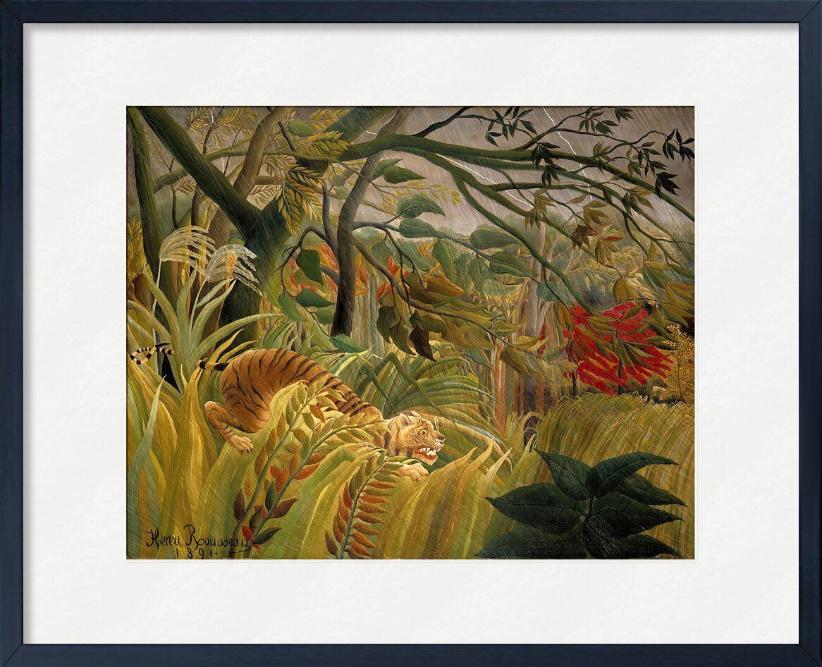Tigre dans une tempête tropicale de AUX BEAUX-ARTS, Prodi Art, Rousseau, tropique, jungle, arbres, tigre, fleurs