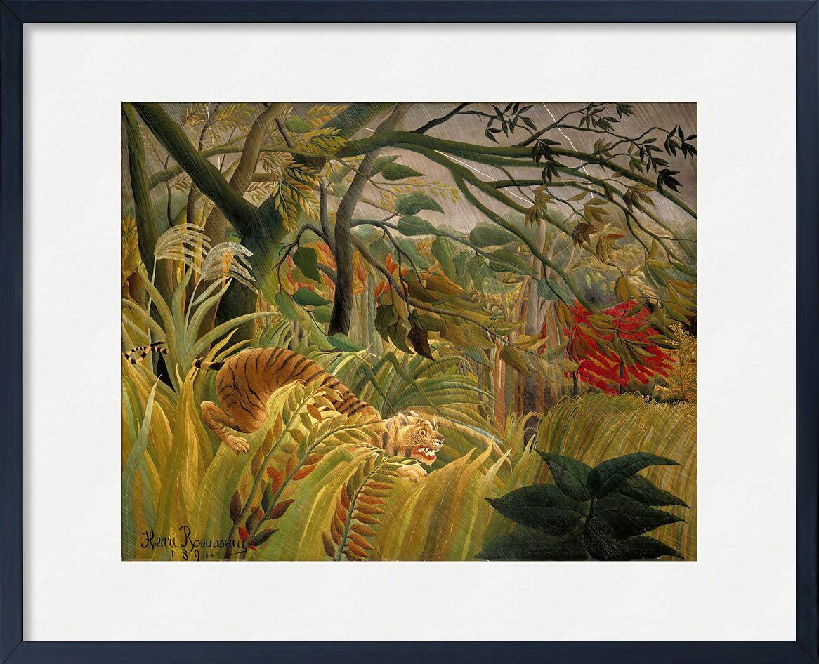 Tiger in a Tropical Storm desde AUX BEAUX-ARTS, Prodi Art, flores, Tigre, árboles, selva, trópico, Rousseau