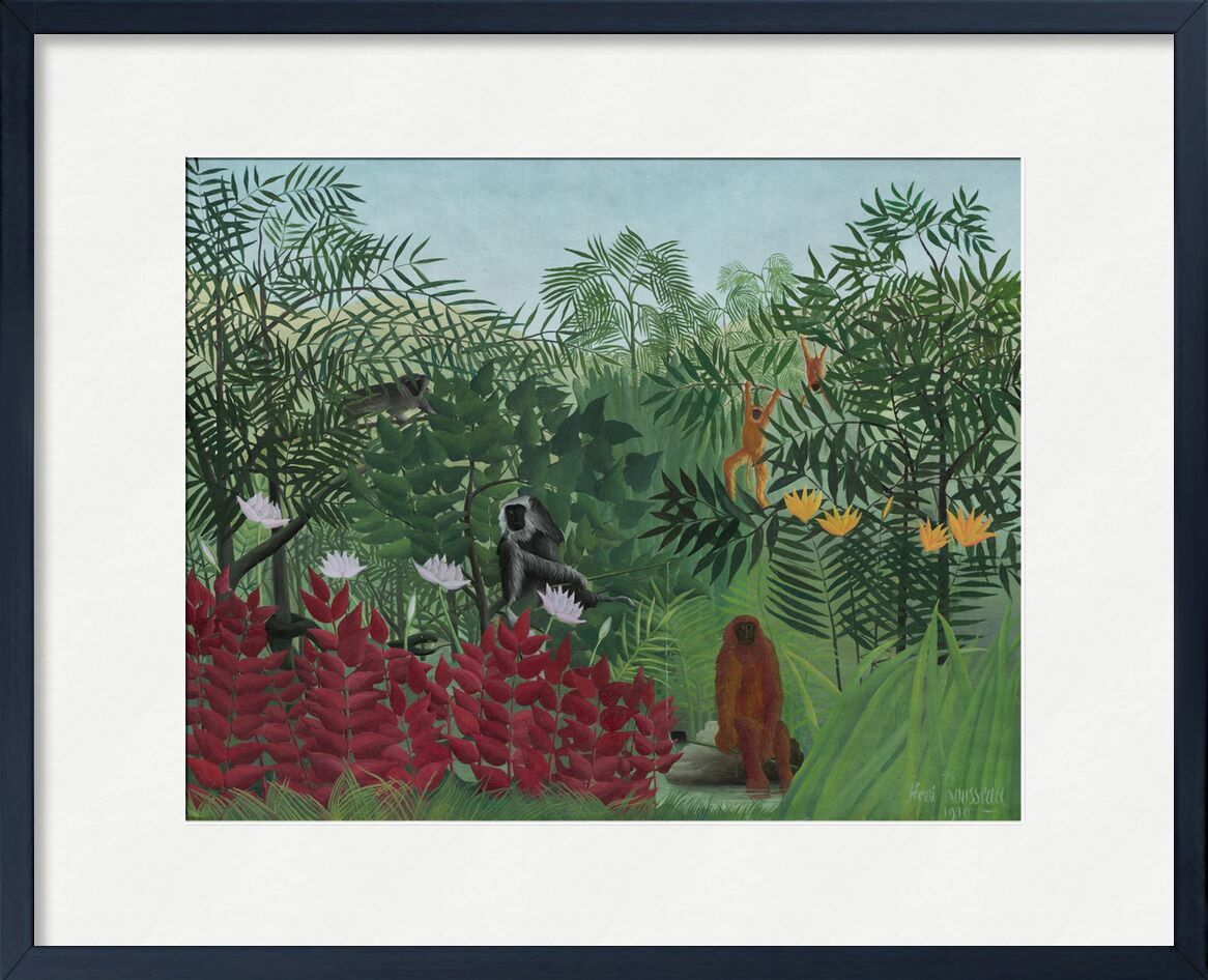 Forêt tropicale avec singes et serpent de AUX BEAUX-ARTS, Prodi Art, nature, Rousseau, forêt, jungle, serpent, arbres, singes