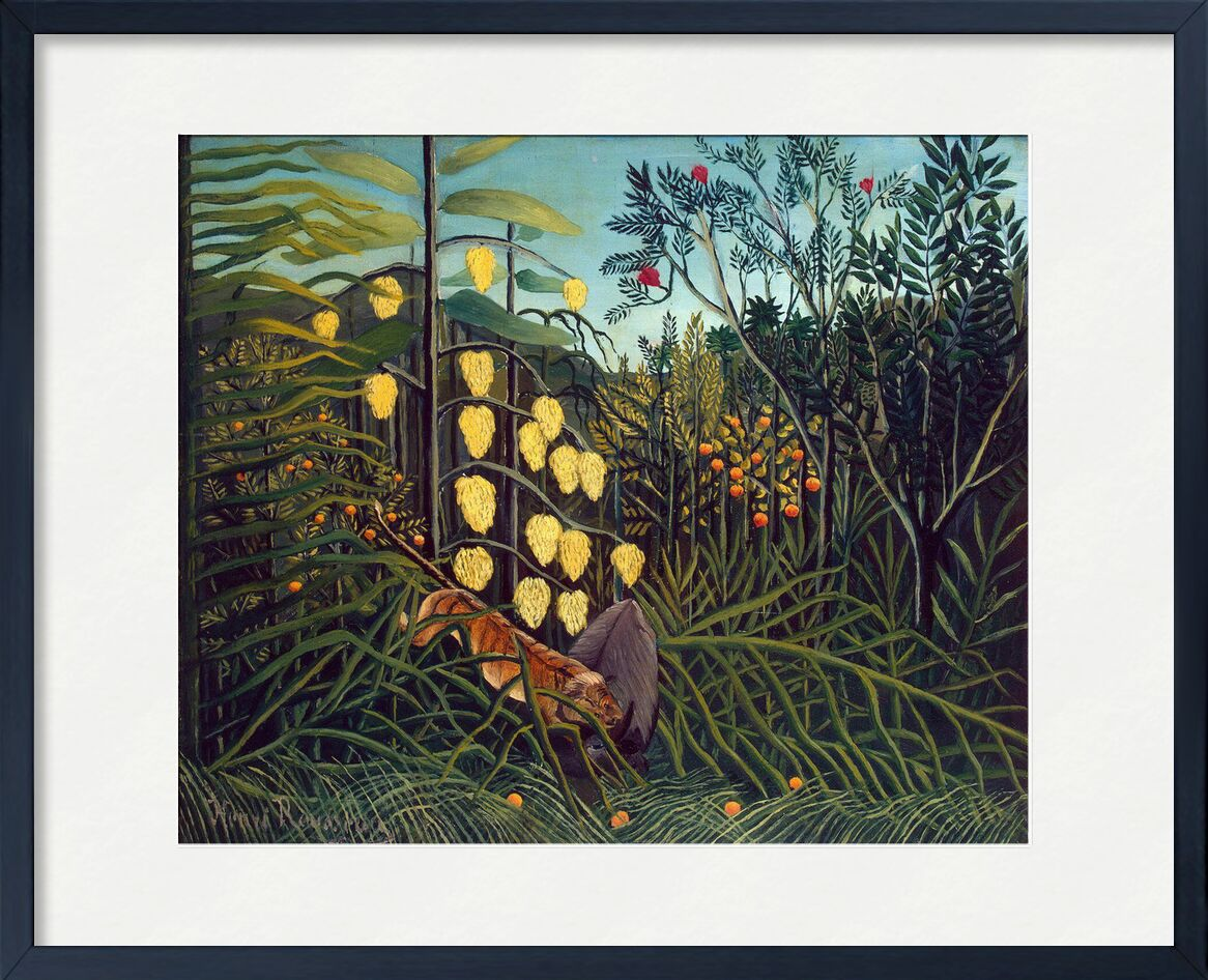 Tropical Forest: Battling Tiger and Buffalo from AUX BEAUX-ARTS, Prodi Art, rousseau, tiger, forest, jungle, trees, nature, combat, buffalo