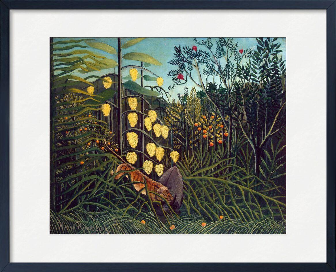 Tropical Forest: Battling Tiger and Buffalo desde AUX BEAUX-ARTS, Prodi Art, Rousseau, Tigre, bosque, selva, árboles, naturaleza, combate, búfalo