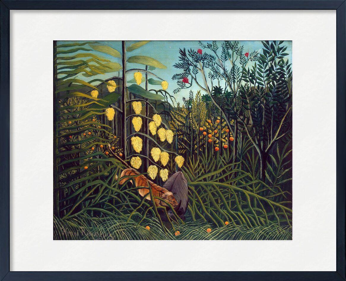 Dans le Foret Tropicale : Combat du Tigre et du Buffle de AUX BEAUX-ARTS, Prodi Art, Rousseau, tigre, forêt, jungle, arbres, nature, combat, buffle