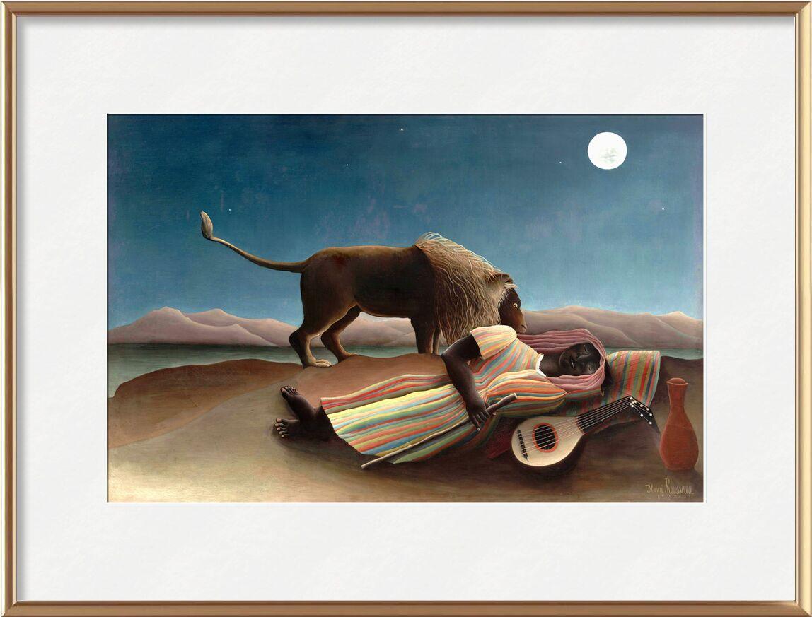 La Bohémienne endormie de AUX BEAUX-ARTS, Prodi Art, sable, la musique, guitare, étoiles, sauvage, Lion, lune, désert, Rousseau