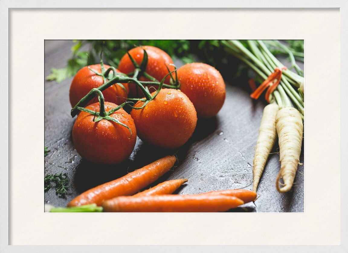 Our vegetables from Pierre Gaultier, Prodi Art, wooden, water, vegetables, tomatoes, radish, nutrition, ingredients, healthy, health, fruit, food, focus, drops, droplets, cooking, close-up, carrots, blur, agriculture
