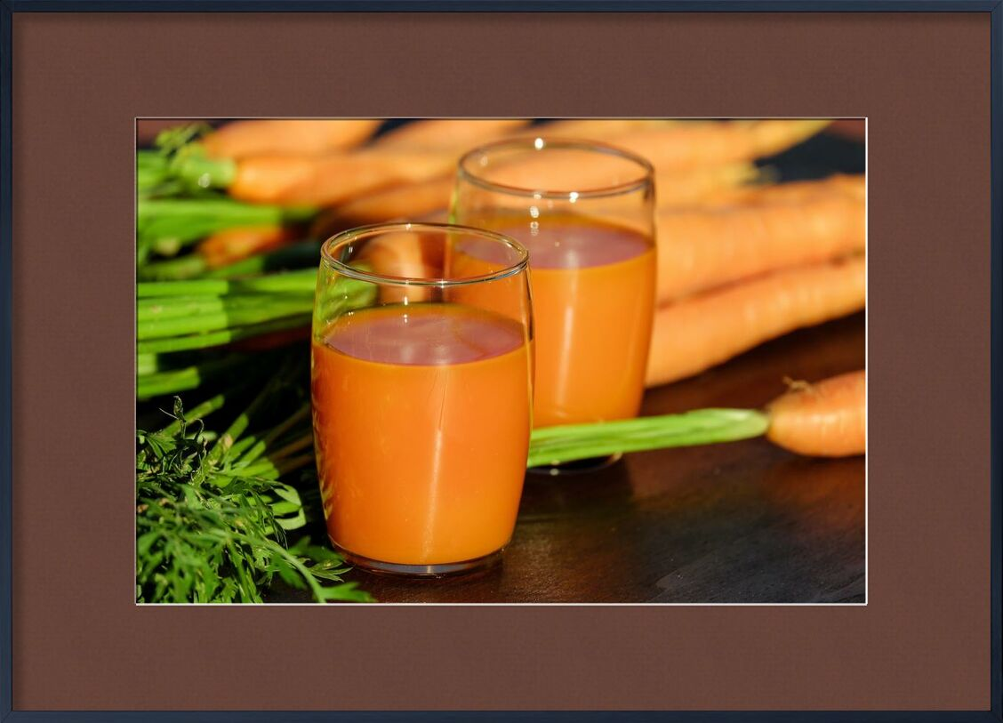 Carrot juice from Pierre Gaultier, Prodi Art, wooden, wood, vegetables, vegetable juice, table, orange, nutrition, leaf, juice, healthy, fresh, food, drinking glasses, delicious, color, close-up, carrots, carrot juice, beverage