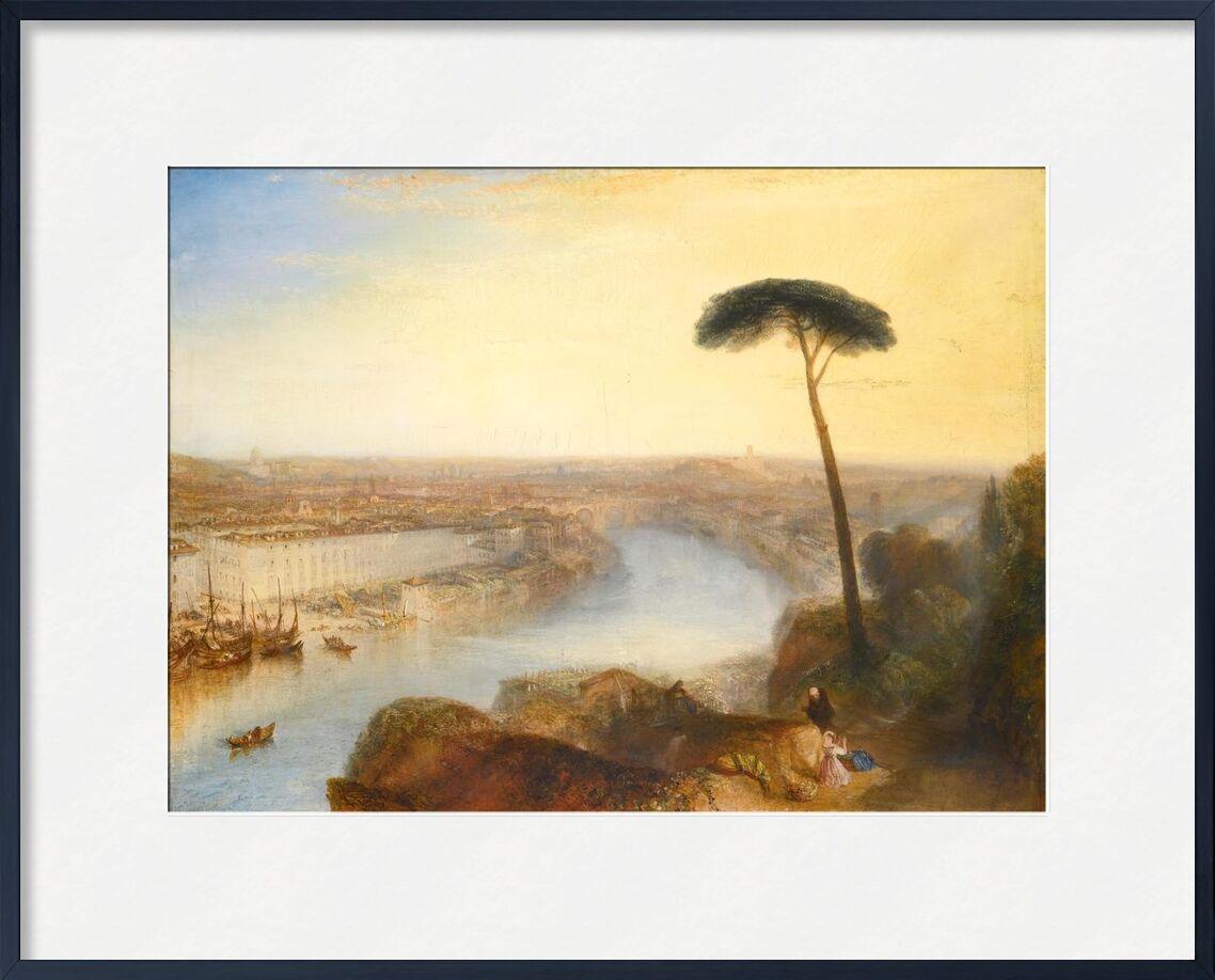 Rome, From Mount Aventine - WILLIAM TURNER 1835 von AUX BEAUX-ARTS, Prodi Art, Berg, Rom, WILLIAM TURNER, Sommer-, Fluss, Malerei, Sonne, Himmel, Berge, Natur, Baum