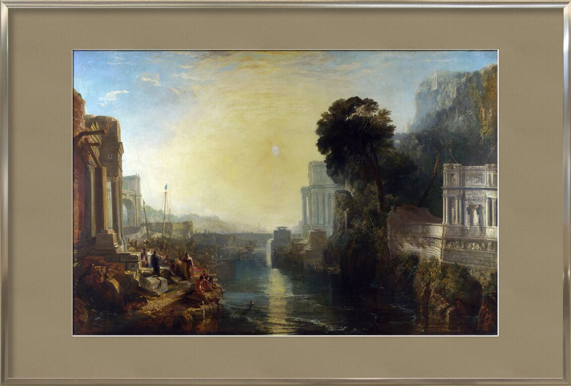 Dido Building Carthage - WILLIAM TURNER 1815 from Aux Beaux-Arts, Prodi Art, River, construction, Sun, sky, WILLIAM TURNER, painting, dido