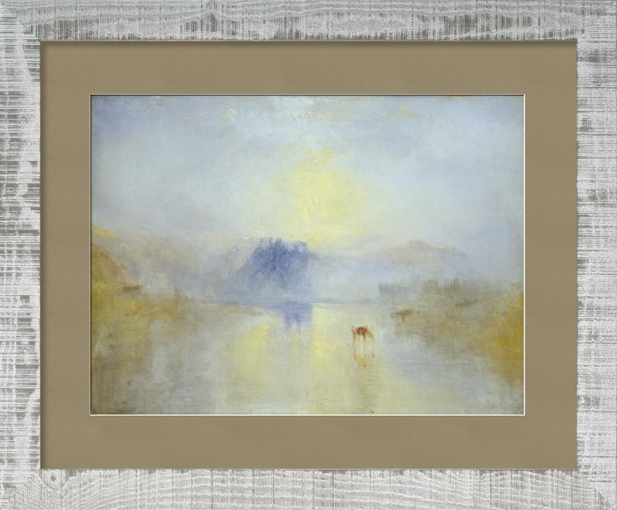 Norham Castle, Sunrise - WILLIAM TURNER 1845 from Aux Beaux-Arts, Prodi Art, chateau, horses, england, WILLIAM TURNER, painting, Sunrise, Norham