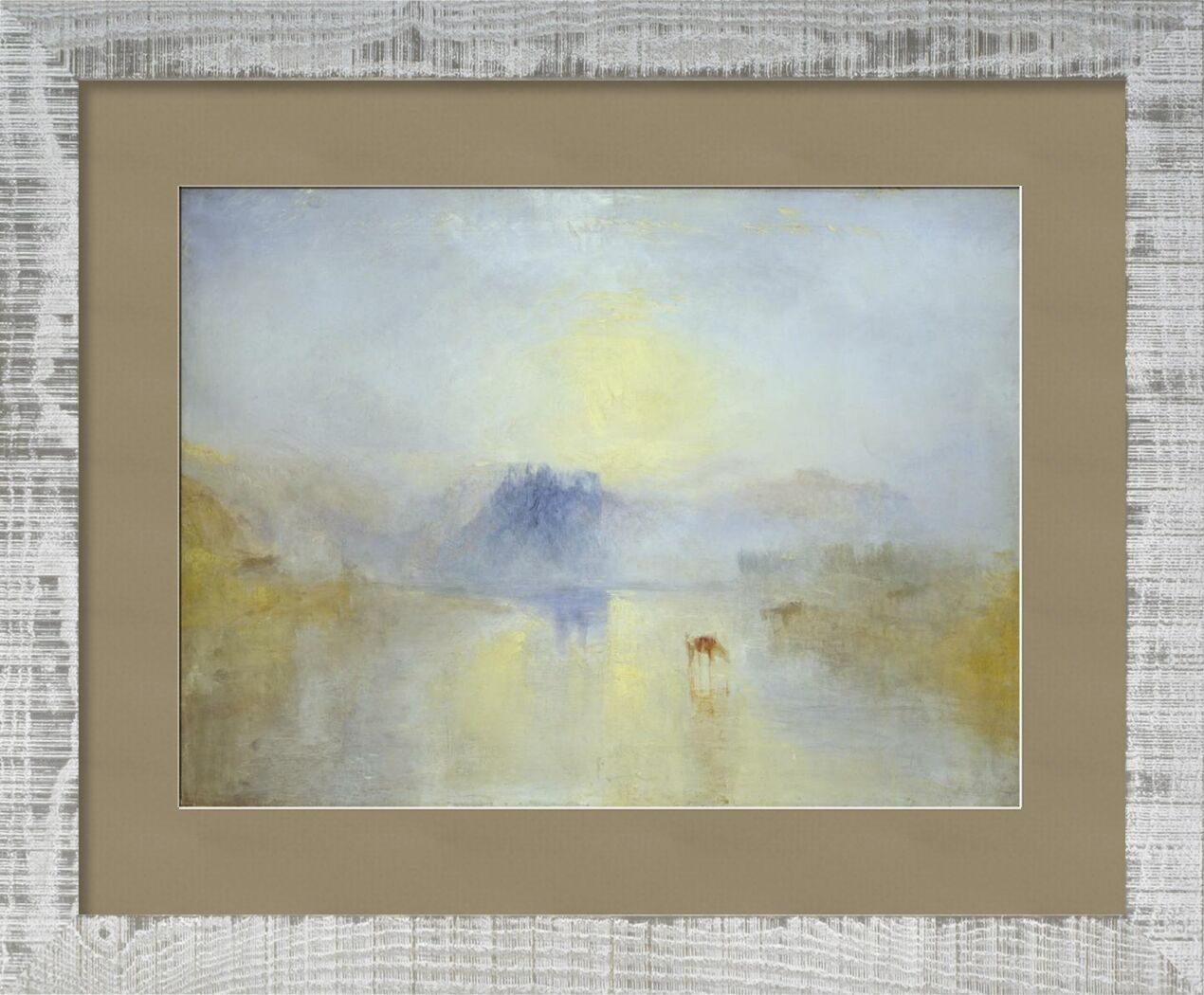 Norham Castle, Sunrise - WILLIAM TURNER 1845 from AUX BEAUX-ARTS, Prodi Art, Norham, Sunrise, painting, WILLIAM TURNER, england, horses, chateau
