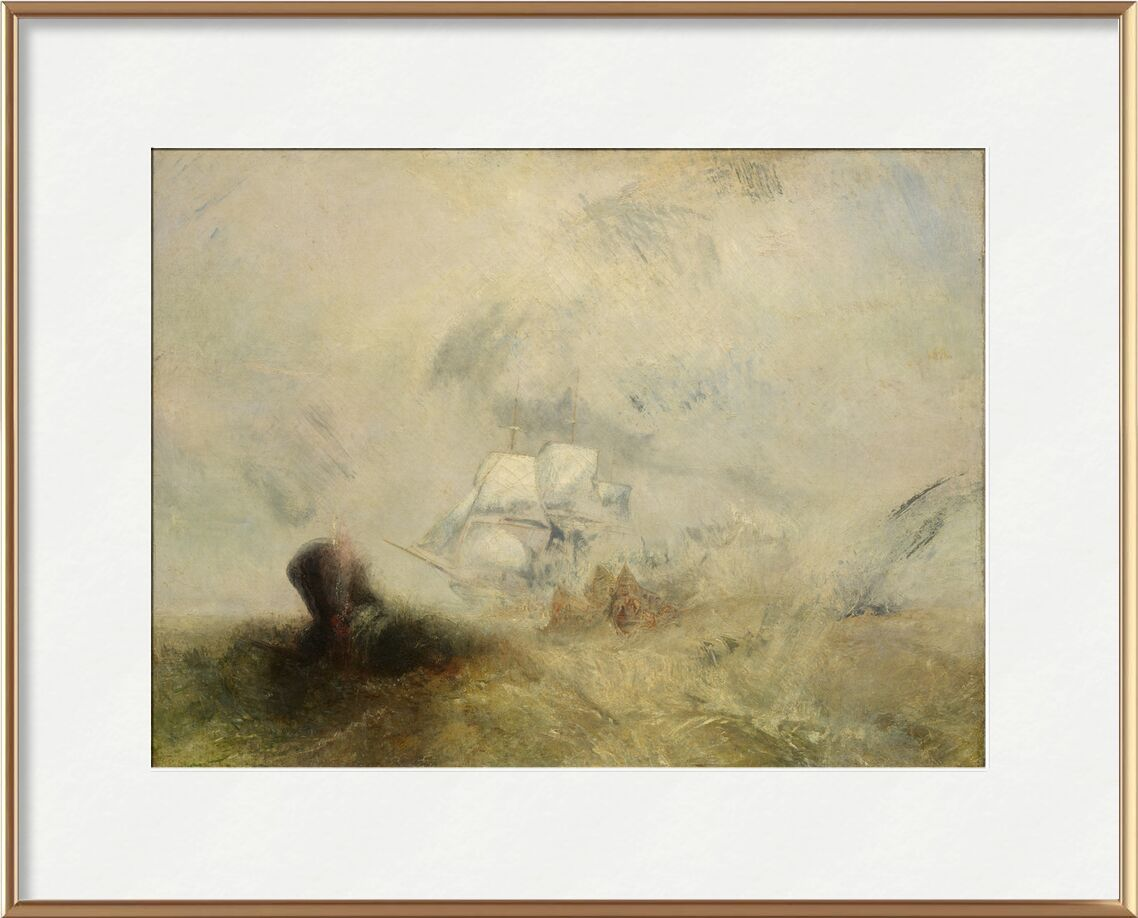 Whalers - WILLIAM TURNER 1840 from Aux Beaux-Arts, Prodi Art, sea, boat, peach, WILLIAM TURNER, painting, sea monster, sinner