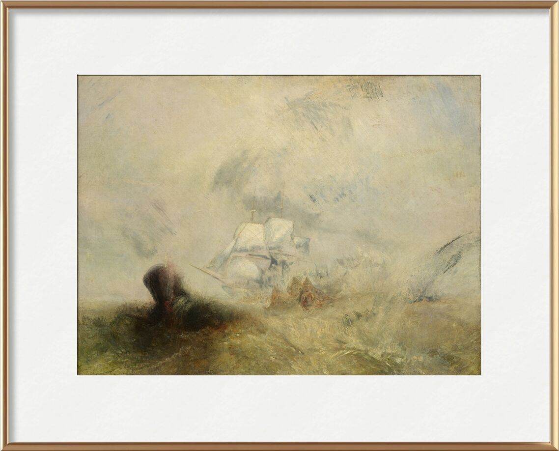 Whalers - WILLIAM TURNER 1840 from AUX BEAUX-ARTS, Prodi Art, sinner, sea monster, painting, WILLIAM TURNER, peach, boat, sea
