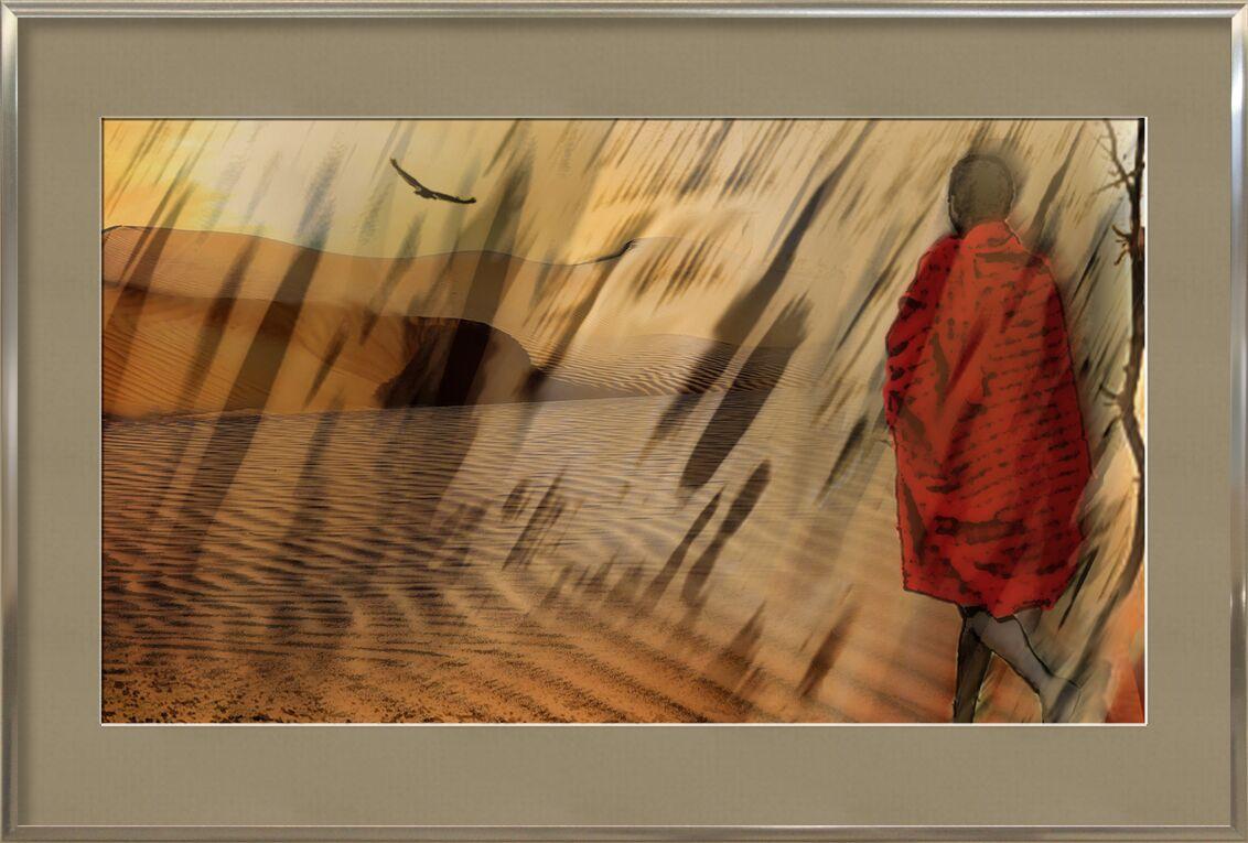 La marche du Maasaï de Adam da Silva, Prodi Art, désert, marché, soleil, sécheresse, dune, sable, arbre, massaï, , vautour, tempête de sable
